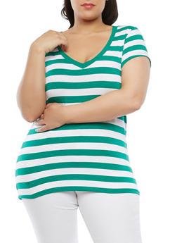 Plus Size Striped V Neck Tee - 0915054266001