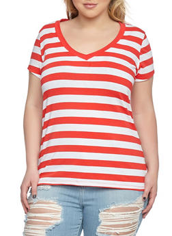 Plus Size Striped V Neck Tee - 0915054266001