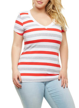 Plus Size Striped V neck Tee - 0915054266002