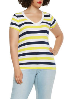 Plus Size Striped V neck Tee - 0915054266002