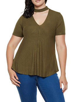 Plus Size Rib Knit Keyhole Top - 0915054268889