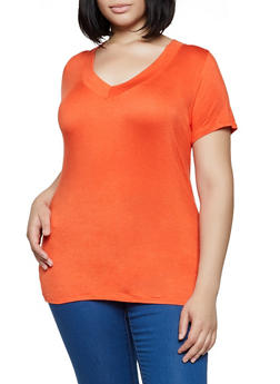 Plus Size Wide V Neck Top - 0915058754373