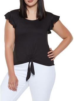 Plus Size Flutter Sleeve Tie Front Top - 0915060581250