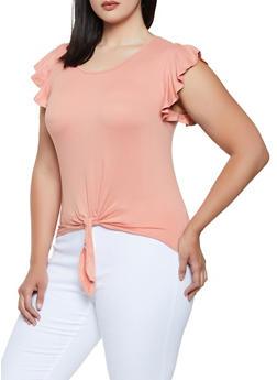 Plus Size Flutter Sleeve Tie Front Top - 0915060581250