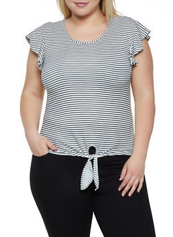 Plus Size Striped Flutter Sleeve Tee - 0915060583698