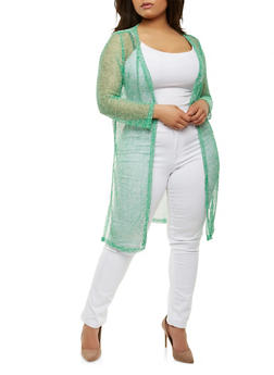 Plus Size Side Slit Duster - GREEN - 0915074280025