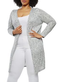 Plus Size Striped Shimmer Knit Duster - BLACK/WHITE - 0915074280325