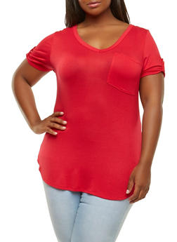 Plus Size V Neck Tee - 0915074281101