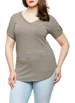 Plus Size Striped V Neck Tee - 0915074285505