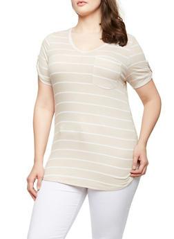 Plus Size Striped V Neck Tee - 0915074285505