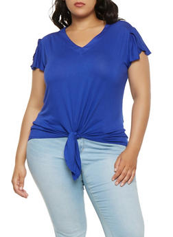 Plus Size Solid Tie Front Tee - 0915074287133