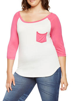 Plus Size Color Block Baseball Tee - 0915074287135