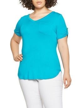 Plus Size Tabbed Sleeve Tee - 0915074287136