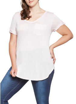 Plus Size Tabbed Sleeve Tee - 0915074287136