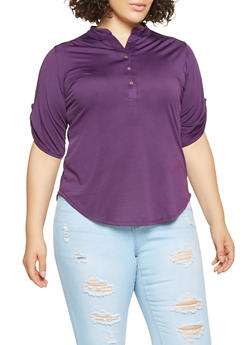Plus Size Henley Top - 0915074287137