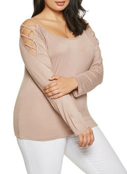 Plus Size Caged Shoulder Top - 0915074287149
