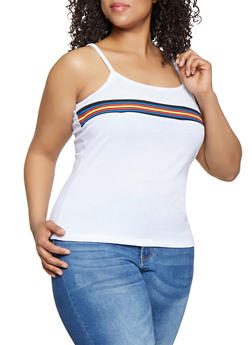 Plus Size Rib Knit Stripe Detail Cami - 0916038349112