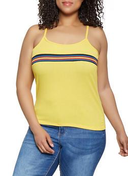 Plus Size Rib Knit Stripe Detail Cami - 0916038349112