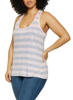 Plus Size Striped Racerback Tank Top - 0916054263792