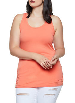 Plus Size Ruched Side Tank Top - 0916054263807