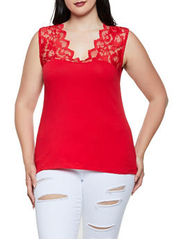 Plus Size Lace Yoke Sleeveless Top - Red - Size 2X - 0916054265503