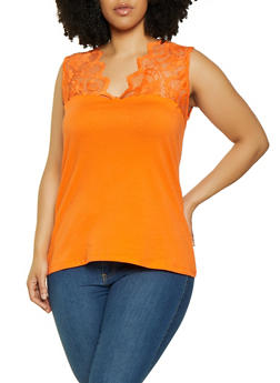 Plus Size Lace Yoke Sleeveless Top - 0916054265503