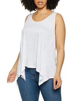 Plus Size Solid Sharkbite Top - 0916054268337
