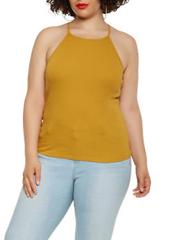 Plus Size Ribbed Knit Tank Top - 0916054269319