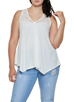 Plus Size Lace Yoke Sleeveless Top | 0916054269533 - 0916054269533