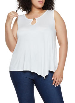 Plus Size Keyhole Sharkbite Top - 0916054269596
