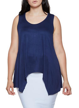 Plus Size Keyhole Back Sharkbite Top - 0916054269598