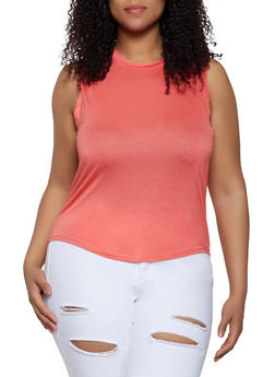 Plus Size High Low Muscle Tank Top - 0916062701760