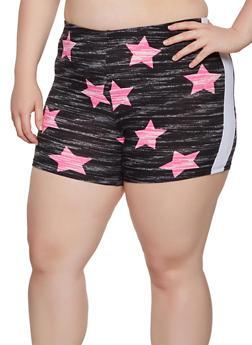 Plus Size Star Print Bike Shorts - 0951001441834
