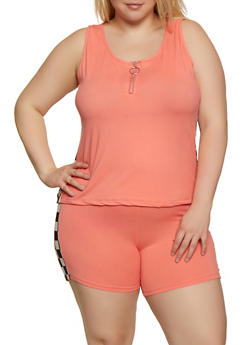 Plus Size Checkered Detail Tank Top - 0951001441835