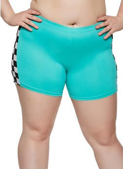 Plus Size Checkered Detail Bike Shorts - 0951001441836