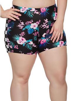 Plus Size Floral Checkered Trim Bike Shorts - 0951001443511