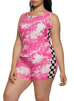 Plus Size Tie Dye Checkered Detail Tank Top - 0951001443520