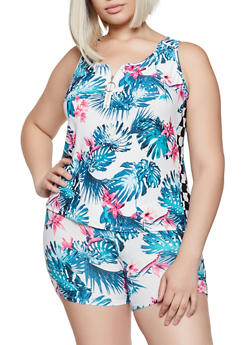 Plus Size Floral Zip Neck Tank Top - 0951001443540