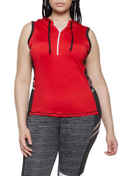 Plus Size Zip Neck Active Tank Top - 0951038340061