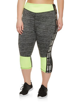 Plus Size Boss Graphic Cropped Active Leggings - 0951038340559