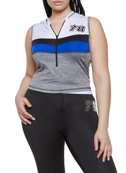 Plus Size Color Block Sleeveless Hooded Active Top - 0951038340560