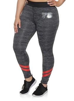 Plus Size Graphic Stripe Detail Active Leggings - 0951038340561
