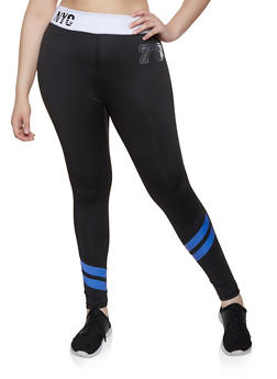 Plus Size Black Stripe Leggings