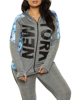 Plus Size New York Tie Dye Trim Hooded Top - 0951038340863