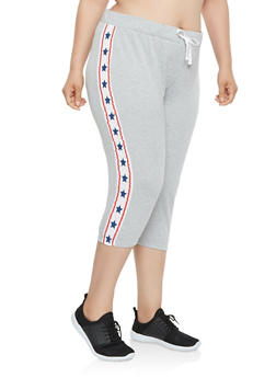 Plus Size Americana Star Graphic Capri Sweatpants - 0951038346161