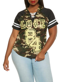 Plus Size Graphic Camo Hooded Tee - CAMEL - 0951038346164