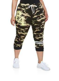 Plus Size Graphic Capri Sweatpants - 0951038346165