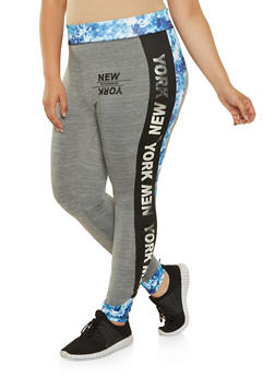 Plus Size New York Tie Dye Trim Leggings - 0951038348564