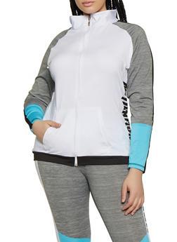 Plus Size Color Block Motivation Active Sweatshirt - 0951038348565