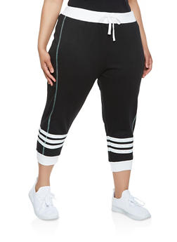 Plus Size Contrast Trim Capri Sweatpants - 0951038348612